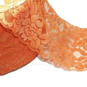 15cm Wide Matte Finish Orange Colour Stretch Lace