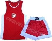 KIDS BOXING UNIFORM 2 PICES SET (TOP & SHORT) RED, 05 TILL 06 YEAR OLD KIDS