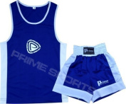 KIDS BOXING UNIFORM 2 PICES SET (TOP & SHORT) BLUE-WHITE, 07 TILL 08 YEAR OLD KIDS