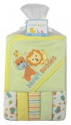Cutie Pie Safari Buddies Bath Set - Hooded Towel & 5 Washcloths