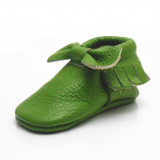 Sayoyo Baby Green Bow Tassels Soft Sole Leather Infant Toddler Prewalker Shoes