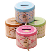Set of 4 Colourful Printing Piggy Bank Tin Kids Coin Bank with Lock