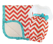 Caught Ya Lookin' Baby Gift Set, Girl Coral and White Chevron Cotton