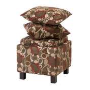 """Madison Park Shelley Square Storage Ottoman With Pillows - Brown - 18W x 18D x 18H"""""""