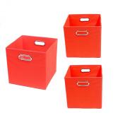 Modern Littles Organisation Bundle-3 Storage Bins, Bold Red
