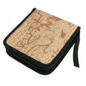 Click Down Light Brown Global Map Printed 40 Pieces Capacity DVD CD Case Bag Holder