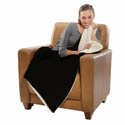 Sherpa Throw, Micro Mink Blanket, 1090ml/Each, 130cm X 150cm , Black
