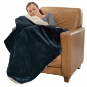 Shearling Lined Micro Mink Comforter Blankets, Throw, 1950ml/Each, 130cm X 180cm , NAVY BLUE