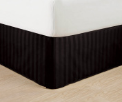 Wrinkle Free - Egyptian Quality STRIPE Bed Skirt - Pleated Tailored 36cm Drop - All Sizes and Colours , California King , Black