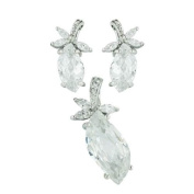 Sterling Silver Clear CZ Chess Cut Eye Shaped Earring and Pendant Jewellery Set 46cm Chain