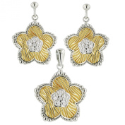 Sterling Silver Gold Textured Flower CZ Pave Earrings and Pendant Necklace Jewellery Set 46cm chain
