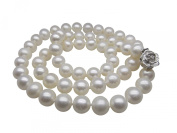 """Long 20"""" Silver Rose Clasp Genuine Round 7-7.5mm White Pearl Necklace Cultured Freshwater"""