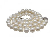 """18"""" Silver Rose Clasp Genuine Round 9-9.5mm White Pearl Necklace Cultured Freshwater"""