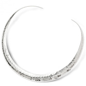 16mm Polished Hammered Slip On Collar Necklace in Sterling Silver