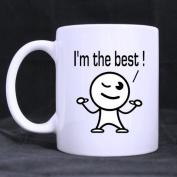 "White Mugs With Funny Cartoon "" I'm the best "" 330ml/100% Ceramic Custom Coffee/Tea Mug Great Gift Idea"
