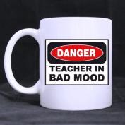 "White Mugs With Funny Design School Mug "" DANGER "" TEACHER IN BAD MOOD 330ml/100% Ceramic Custom Coffee/Tea Mug Great Gift Idea"