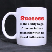 White Mugs With Popular Sentence Of SUCCESS 330ml/100% Ceramic Custom Coffee/Tea Mug Great Gift Idea