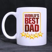 "White Mugs With Fashion Prize Design Five Stars "" WORLD'S BEST DAD "" 330ml/100% Ceramic Custom Coffee/Tea Mug Great Gift Idea"
