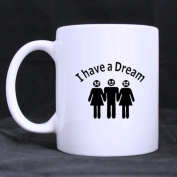 "White Mugs With Funny Man With Two Women "" I have a DREAM "" 330ml/100% Ceramic Custom Coffee/Tea Mug"