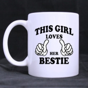 """White Mugs With Cute """" THIS GIRL LOVES HER BESTIES """" 330ml/100% Ceramic Custom Coffee/Tea Mug Unique Gift For Best Friends"""