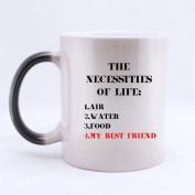 "100% Ceramic Popular "" THE NECESSITIES OF LIFE : 1. AIR 2. WATER 3. FOOD 4.MY BEST FRIENDS "" Morphing Mug 330mls Heat Sensitive Colour Changing Custom Coffee/Tea Mug Great Gift Idea For Friends"