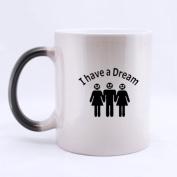 "100% Ceramic Funny Man With Two Women "" I have a DREAM "" Morphing Mug 330mls Heat Sensitive Colour Changing Custom Coffee/Tea Mug"