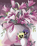 Diy oil painting, paint by number kit- Elegant Lily 16*50cm .