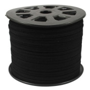BeadsTreasure Black Suede Cord Lace Leather Cord For Jewellery Making 3x1.5 mm-6.1m