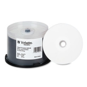 Verbatim - Inkjet Printable DVD+R Discs, 4.7GB, 16x, Spindle, White, 50/Pack 94917 (DMi PK
