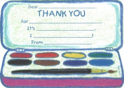Girls Paintbox Thank You Cards, Fill-In Style, 8 Pack