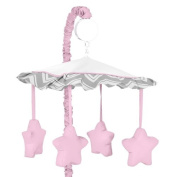 Pink and Grey Chevron Zig Zag Musical Baby Crib Mobile by Sweet Jojo Designs