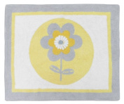Yellow, Grey and White Mod Garden Girl Flower and Butterfly Accent Floor Rug