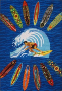 LA Rug ST-21 3958 Surf Time Surfer Dude Accent Rug, 100cm by 150cm , Multi Coloured