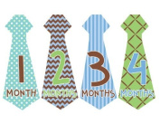 Tie Necktie #159 Month Stickers for Bodysuit Boy Blue Green Brown