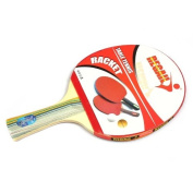 Docooler Long Handle Shake-hand Table Tennis Racket Ping Pong Paddle + Waterproof Bag Pouch Red
