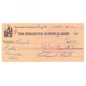 Charlie Root Autographed / Signed Personal Cheque