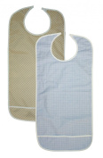 2 Pack Adult Vinyl Adult Bibs with Crumb Catcher - Gold and Blue