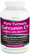 Turmeric Curcumin C3 Complex with BioPerine - 750mg per Capsule, 180 Veg. Caps - Contains Black Pepper (For Superior Absorption and Bio-availability). 95% Standardised Curcuminoids For Maximum Potency - Plus Lifetime Guarantee