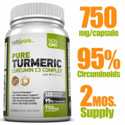 PREMIUM Pure Turmeric Curcumin Features C3 Complex® (750mg) w/ BioPerine®,120 (or 2-Month) Vegi Capsules, 95% Curcuminoids, Maximised Absorption, cGMP Compliance, Patented Herbal Supplement, Non-GMO, 100% Natural, Zero Fillers/Binders/Preservatives/A ..