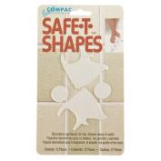 Compac Safe-T-Shapes Bathtub Appliques, White Fish, 3 Count