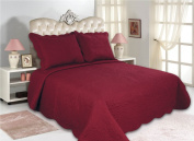 All for You 3pc Reversible Quilt Set, Bedspread, and Coverlet-burgundy colour (FULL/QUEEN, BURGUNDY)-220cm x 220cm