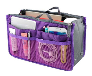 Lady Women Travel Insert Handbag Organiser Purse Large Liner Organiser Tidy Bag-Purple