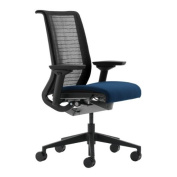 Steelcase Think Chair, Licorice 3D Knit with Blue Fabric Seat