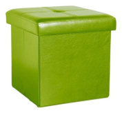Kennedy Home Collection 38cm Fuax Leather Folding Ottoman, Lime