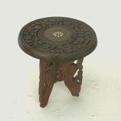 Highly Portable Handcarved Hardwood Mini Table - 15cm Diameter