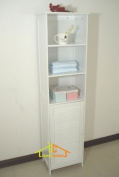 Wooden Tower Bathroom Cabinet Louvred,HC-044