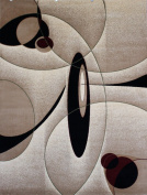 New City Contemporary Brown and Beige Modern Wavy Circles Area Rug 1.5m0.6m x 2.1m3