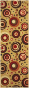 Rubber Collection Circles and Dots Beige Multi-Colour Printed Slip Resistant Rubber Back Latex Contemporary Modern Area Rugs and Runners (1052) (2x 5