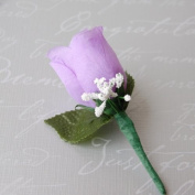 Lavender Rose Boutonniere with Pin for Prom, Party, Wedding