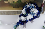 2pc Set:cascade Bridal Bouquet & boutonniere w/bling:royal Blue White-silk Flowers